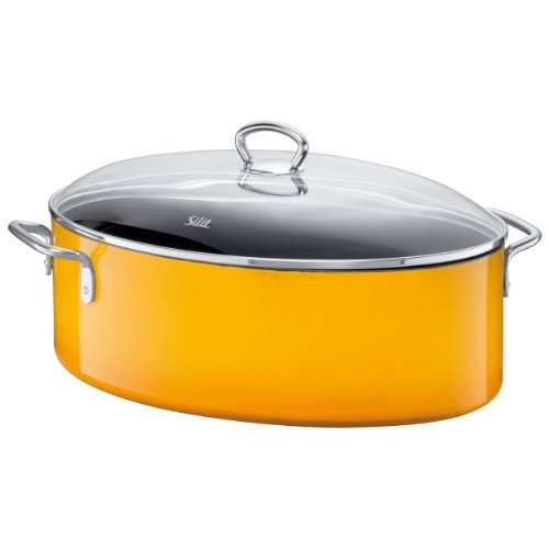 reviews this silit oval roasting pan with heat resistant glass lid crazy yellow 36 cm. Black Bedroom Furniture Sets. Home Design Ideas